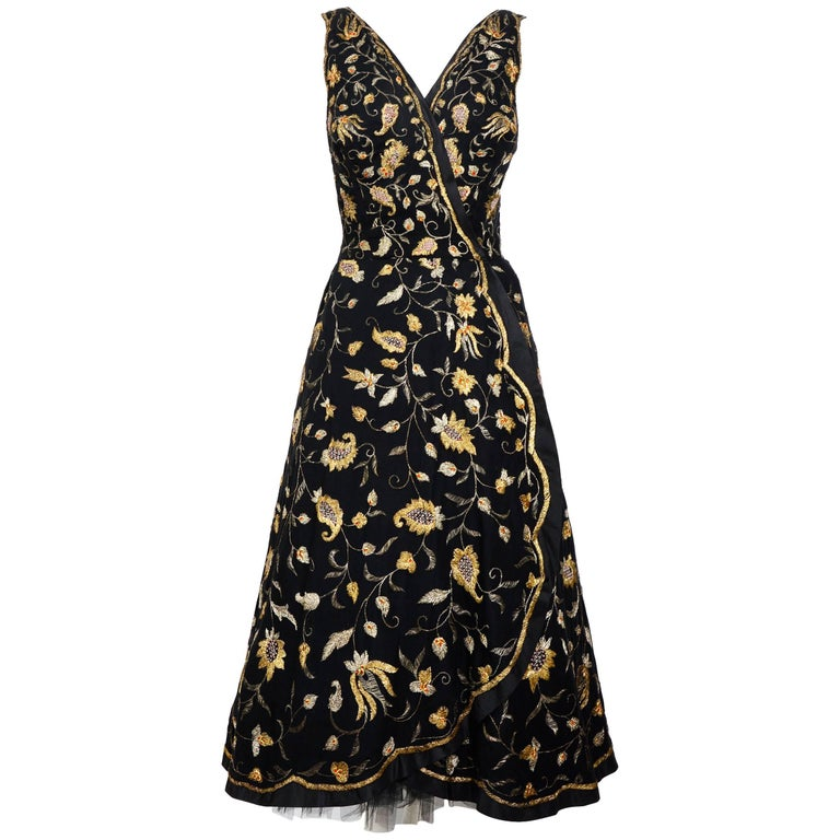 Cristobal Balenciaga numbered documented museum-worthy dress beaded by Rebe 1953 For Sale