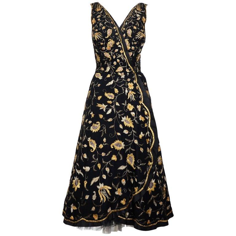 Cristobal Balenciaga numbered documented museumworthy dress beaded by Rebe, 1953