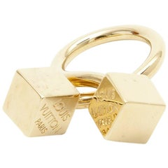 LOUIS VUITTON Ring with Two Dice in Gilded Metal