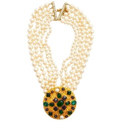 MARGUERITE DE VALOIS Couture 5 Rows Necklace in Pearls and Molten Glass
