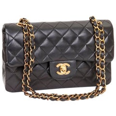 CHANEL 'Timeless' Double Flap Bag in Black Quilted Lambskin Leather