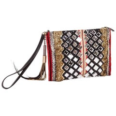 BALMAIN Evening Clutch in Lame Gold Fabric and Multicolored Embroideries