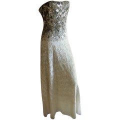 Oscar de la Renta Strapless Silver White Built in Corset Sequin Evening Dress