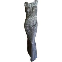 Oscar de la Renta Silver and Gray Bead Embellished Sleeveless Column Dress