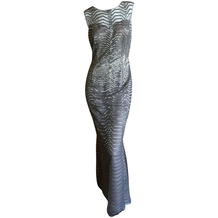 Oscar de la Renta Silver and Gray Bead Embellished Sleeveless Column Dress