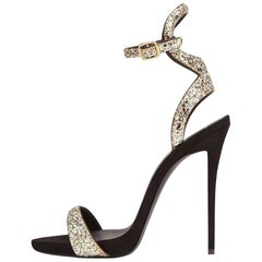 Giuseppe Zanotti New Black Gold Glitter Ankle Heels Box