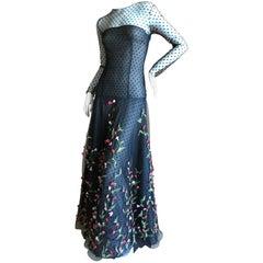 Oscar de la Renta Romantic Rose Floral Embellished Sheer Lace Evening Dress