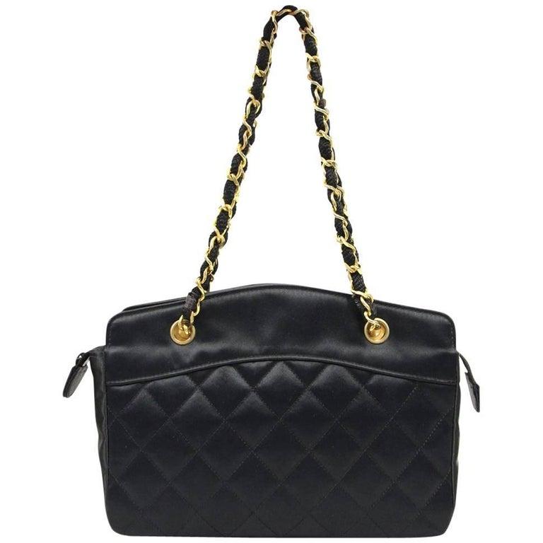 1990s Chanel Black Silk Purse