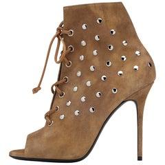 Giuseppe Zanotti New Cognac Suede Stud Ankle Booties W/Box