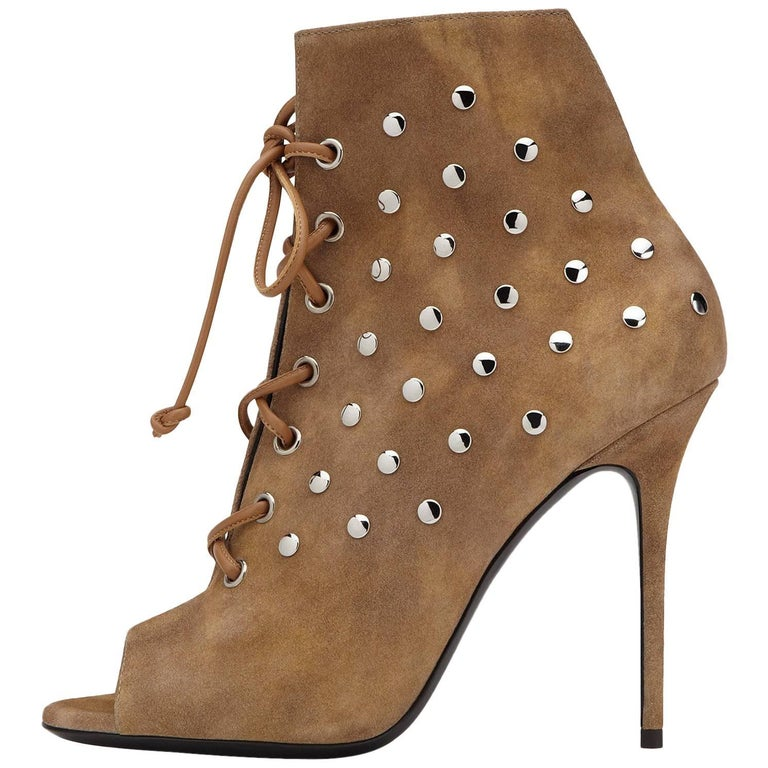 Giuseppe Zanotti New Cognac Suede Stud Ankle Booties W/Box