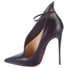 Christian Louboutin New Sold Out Black Leather CutOut Ankle Boots Booties in Box