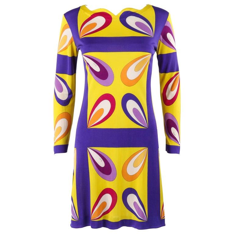 "EMILIO PUCCI c.1968 ""Margherita"" Print Yellow & Blue Op Art Silk Shift Dress"