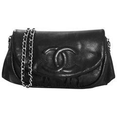 Chanel Black Smooth Leather CC Half Moon WOC Wallet On Chain Crossbody Bag
