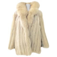Silver Fox Fur and Leather Panel Vintage Coat By Nigbor Furs