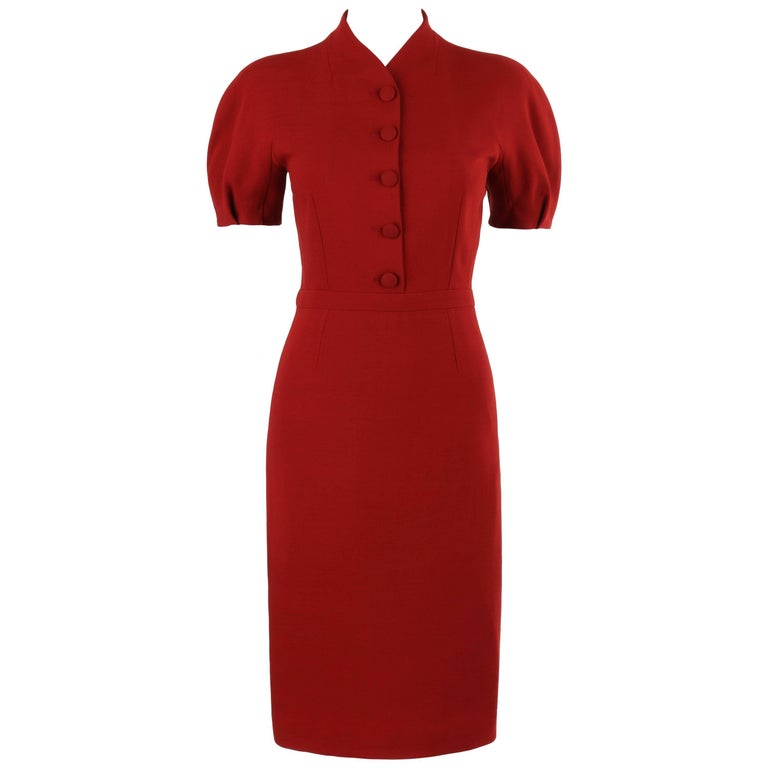 GUCCI Pre-Fall 2013 Red Wool Button Front Dolman Sleeve Shift Dress NWT For Sale