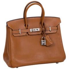 Hermes Birkin 25 CM Gold Epsom Palladium Bag