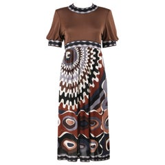 EMILIO PUCCI c.1960's Brown Signature Op Art Print Silk Jersey Shift Dress