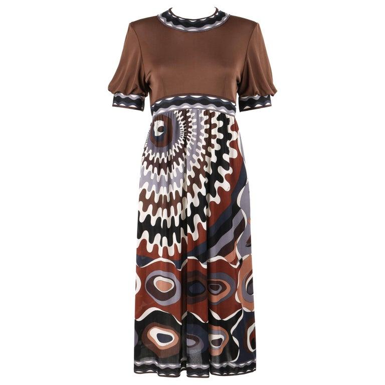 EMILIO PUCCI c.1960's Brown Signature Op Art Print Silk Jersey Shift Dress