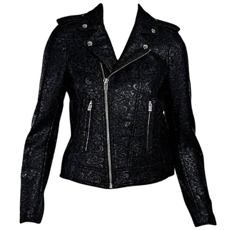 5f588aaf86 Black The Kooples Waxed Lace Moto Jacket For Sale at 1stdibs