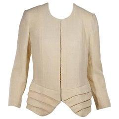 Cream Christian Dior Pleated-Hem Jacket
