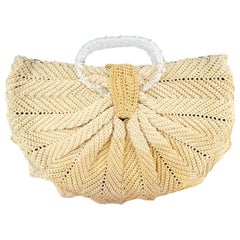 Wonderful 1970s Knitted Arc Bag With Lucite Handles