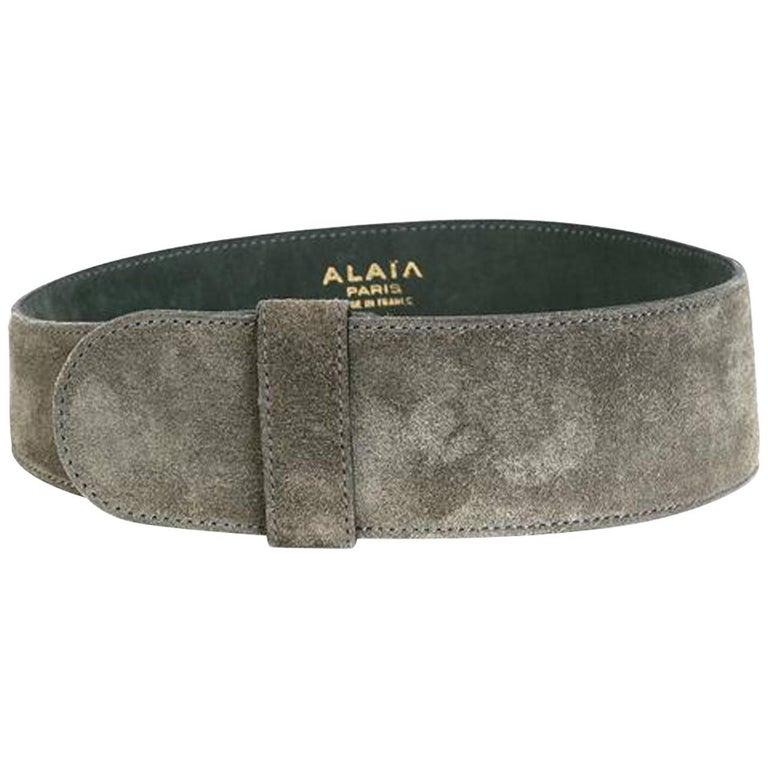 1990s Alaia Grey Suede Corset Belt