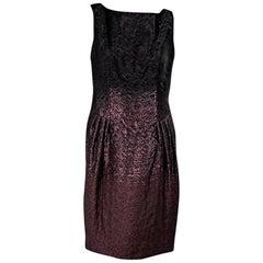 Black & Purple Escada Metallic Pleated Dress