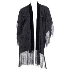 Fringed Silk Kimono made from 1920s Chinese Piano Shawl