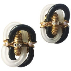 Black and frosted Venetian glass earrings, Archimedo Seguso for Chanel, 1970s