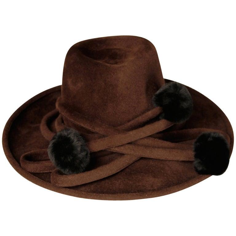 Unworn with Tags Bailey Tomlin Vintage Brown Wool Hat with Black Fur Pom Poms