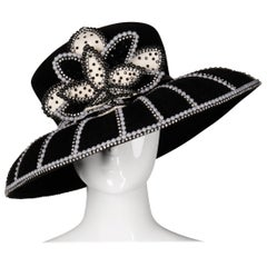 George Zamau'l Vintage Black + White Beaded Flower Embellished Rhinestone Hat