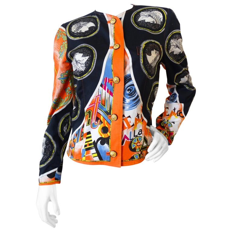 Early 1980s Versace Greek Medallion Printed Jacket  For Sale