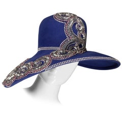 Unworn with Tags Eve Andrea Vintage Blue Rhinestone + Beaded Hat