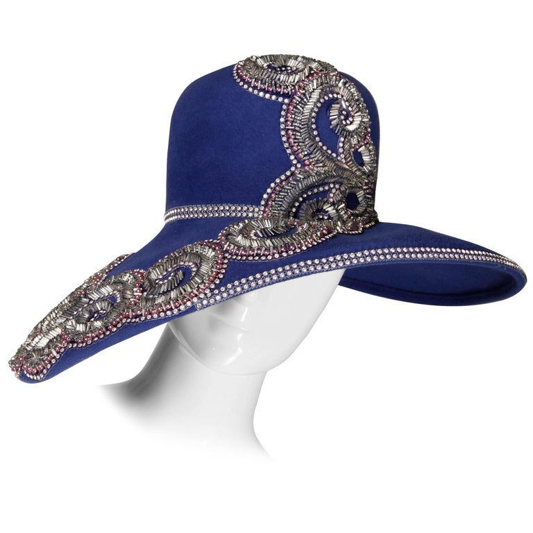 Unworn with Tags Eve Andrea Vintage Blue Rhinestone + Beaded Hat 1