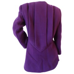 1980s James Galanos Girl Boss Eggplant Purple Coat