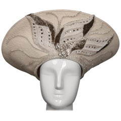 Unworn with Tags George Zamau'l Couture Vintage Hat with Rhinestones + Beading