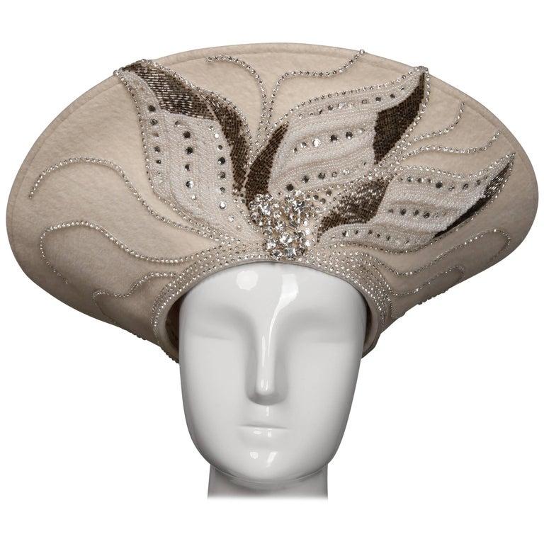 Unworn with Tags George Zamau'l Couture Vintage Hat with Rhinestones + Beading