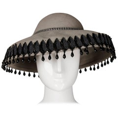 Unworn with Tags Vintage Makins New York Gray Hat with Beading + Rhinestones