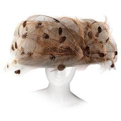 Unworn with Tags Vintage George Zamau'l Hat with Rhinestones and Quail Feathers