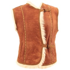 Louis Feraud Paris Tan Suede & Shearling Vest with Contrast Whipstitching M
