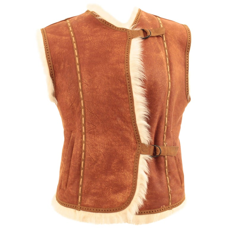 Louis Feraud Paris Tan Suede and Shearling Vest with Contrast Whipstitch, Sz M