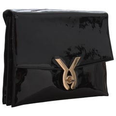 Milch Bag Black Accordion Clutch with Gold Turn Lock and Mirror, 1950s