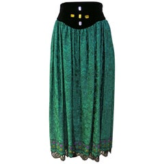 Oscar de la Renta Green Jeweled Silk Long Evening Skirt with Velvet