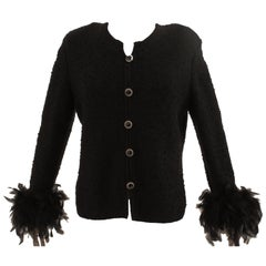 Unique Black Formal Cardigan with Ostrich Feather Cuffs by Dunollie Looms M 80s