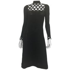Adolfo at Saks Fifth Avenue Black Knit Lattice Dress, 1970s