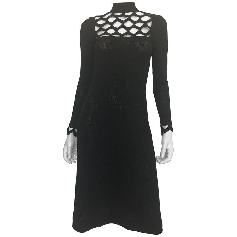 Adolfo at Saks Fifth Avenue Black Knit Lattice Dress, 1970s