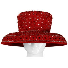 Unworn with Tags Vintage Makins New York Red Hat with Beading + Rhinestones