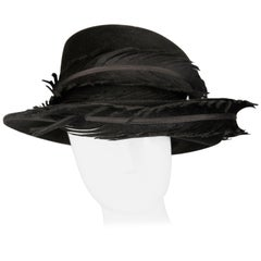 Unworn with Tags Vintage Bailey Tomlin Black Hat with Feathers