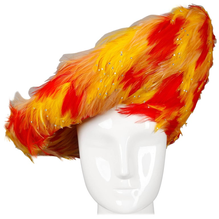 Rare Unworn Vintage Jack McConnell Yellow + Orange Feather Hat with Rhinestones For Sale