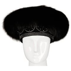 Unworn with Tags Vintage George Zamau'l Black Fox Fur + Rhinestone Hat